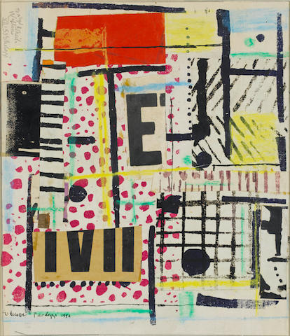 Sir Eduardo Paolozzi (British, 1924-2005) Untitled Collage 1952 Screenprinted collage on board, 1952, signed and inscribed 'To Nigel & Sheila Walters XII '53 E Paolozzi', 395 x 340mm (15 1/2 x 13 3/8in) (SH) (unframed)