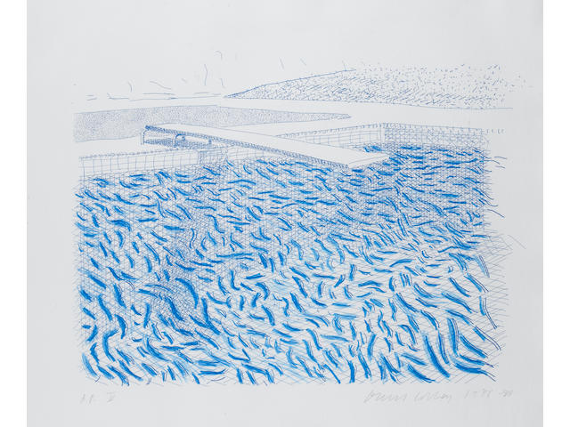 David Hockney (British, born 1937) Lithographic Water Made of Lines and Crayon Lithograph, 1978-80, printed in colours, on TGL handmade paper, signed, dated and inscribed 'AP V' in pencil, a proof aside from the edition of 42, published by Tyler Graphics, 990 x 800mm (38 7/8 x 31 1/4in)(SH)