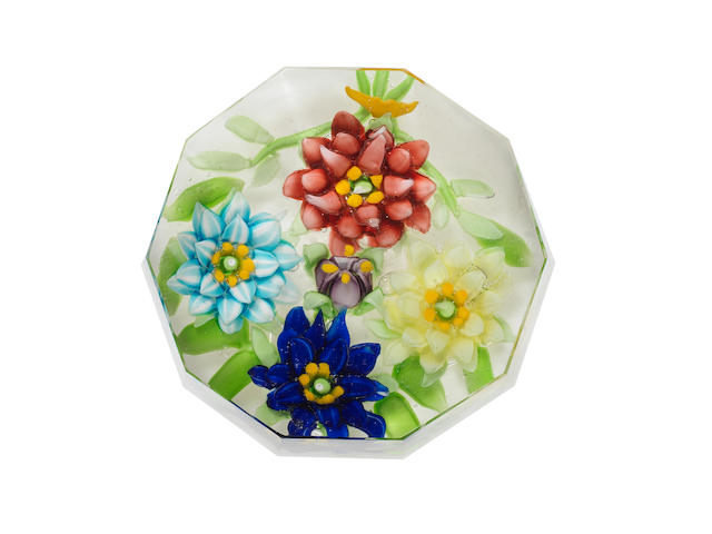A Russian faceted floral garland paperweight, circa 1870-80