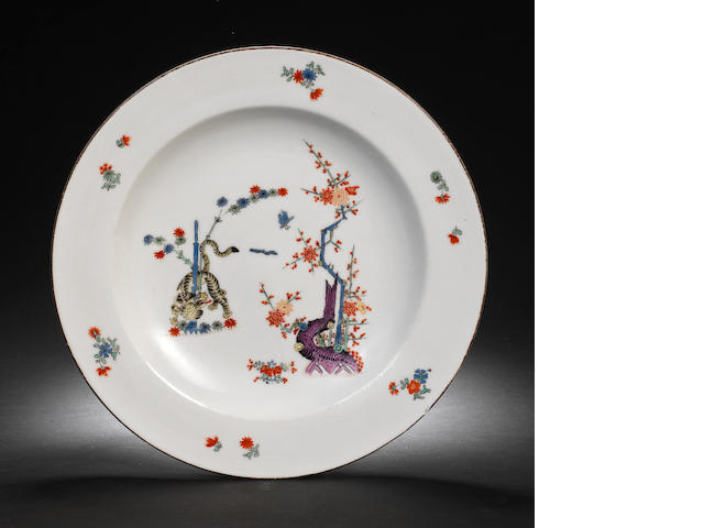 A Meissen deep plate from the 'Gelber Löwe' service for the Saxon court, circa 1740
