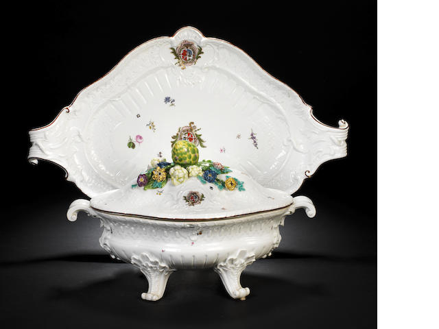 A rare Meissen armorial tureen, cover and stand from the service for the Marquis Ensenada, circa 1746
