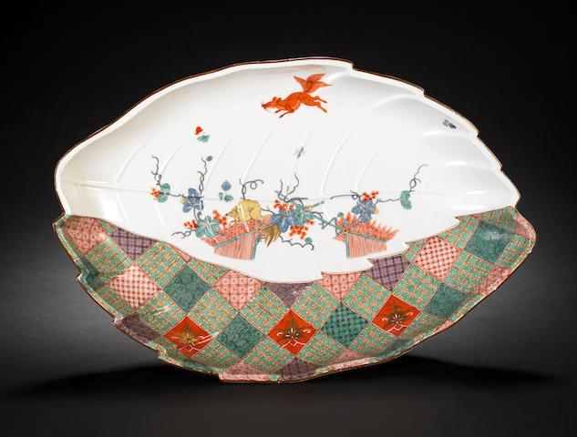 A Meissen leaf-shaped dish, circa 1730-35