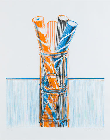 Wayne Thiebaud (American, born 1920) Glassed Candy Lithograph printed in colours, 1980, from the 'Presidential Portfolio', on BFK Rives, signed, dated and numbered 2/150 in pencil, published by Henrici Editions for the Democratic Service Corporation Committee, Washington DC., 510 x 430mm (20 1/8 x 16 7/8in)(I)