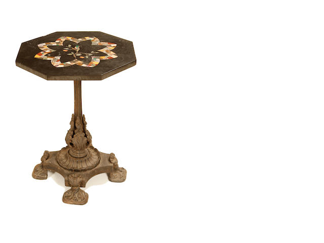 A late 19th century Italian slate and pietra dura centre table top