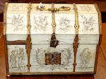 A French inlaid rosewood tea caddy, a painted box, Ivory casket and small mirror.