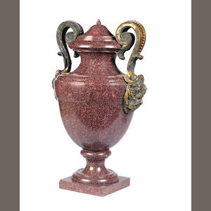 A large 19th century ormolu-mounted porphyry urn and cover