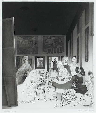 "Richard Hamilton (British, 1922-2011) Picasso's Meninas Hard, soft and stipple etching, open-bite and lift ground aquatint, engraving, drypoint and burnishing, on ? signed, titled and inscribed PP 15/15 in pencil (the full edition was 120 plus 15 artist's proofs and 15 publisher's proofs), from the portfolio ""Hommage à Picasso"", published by Propylaen Verlag, Berlin, 575 x 490mm (22 3/4 x 19 1/4in)(PL)"