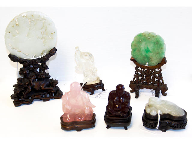 Six Chinese jade and other hardstone carvings