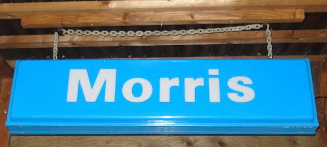 A Morris illuminated showroom sign,