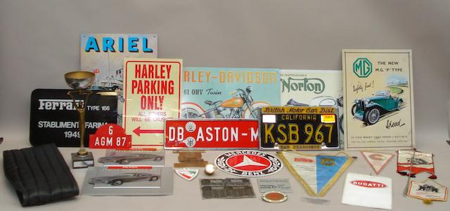 Assorted motoring memorabilia