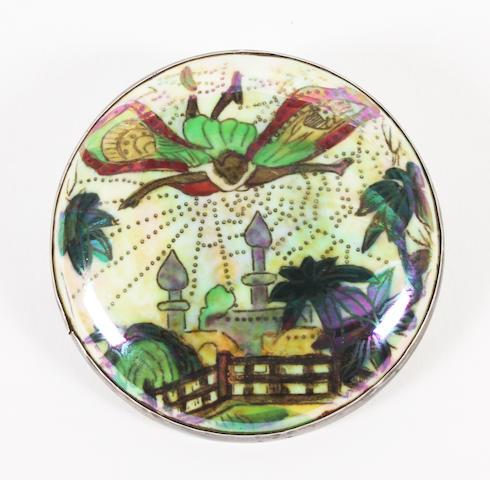 A Wedgwood Fairyland Lustre circular brooch