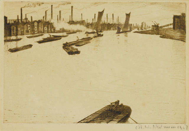 Christopher Richard Wynne Nevinson A.R.A. (British, 1889-1946) Greenwich Reach Drypoint, on laid, signed in pencil, 150 x 225mm (5 7/8 x 8 7/8in)(PL)