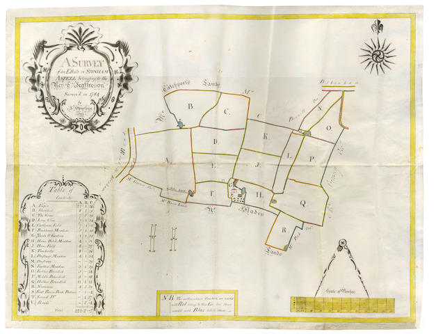 "SUFFOLK. ""A Survey of an Estate in Stonham Aspell belonging to the Revd C. Jeaffreson, 1784/ Survey'd in 1784 by J. Spurling Jr"", 1784; and other material"