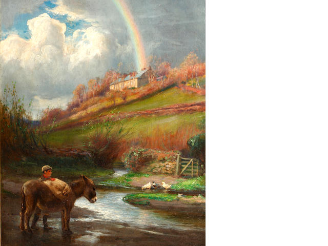 Arthur A. Friedenson (British, 1872-1955) Country scene with a donkey and a rainbow