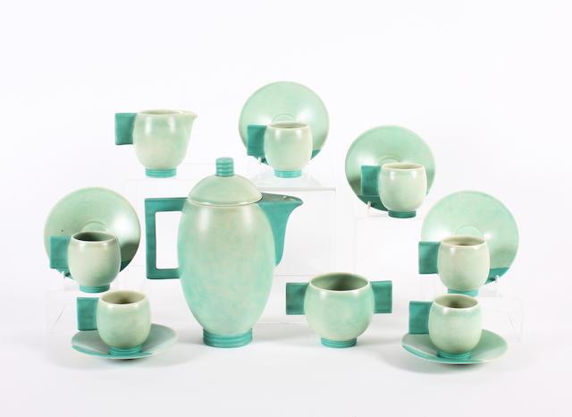 A Carlton Ware Art Deco style green glazed coffee service