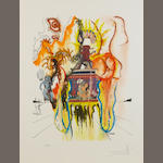 Salvador Dali set 4 coloured prints 'Four Dreams of Paradise' and grapholith certificate Four Dreams of Paradise The set of four lithographs in colours, 1973, entitled 'Romantic', 'Heroic', 'Mystic', 'Gala', on Arches, each signed 35/1000 in pencil, printed by Grapholith, Paris, published by Zeit Magazin/Observer, 710 x 350mm, each (27 3/4 x 13 3/4in)(SH)    4
