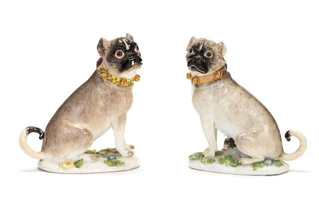 A pair of Meissen models of pug dogs, circa 1745-50