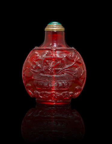 A ruby glass 'fruit and flower basket' snuff bottle Mid Qing dynasty