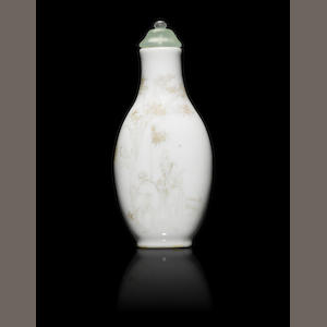 An engraved porcelain 'gardening' snuff bottle Late Qing dynasty