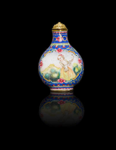 An Imperial copper-ground 'famille rose' enamelled 'European subject' snuff bottle Guangzhou, Qianlong four-character mark and of the period