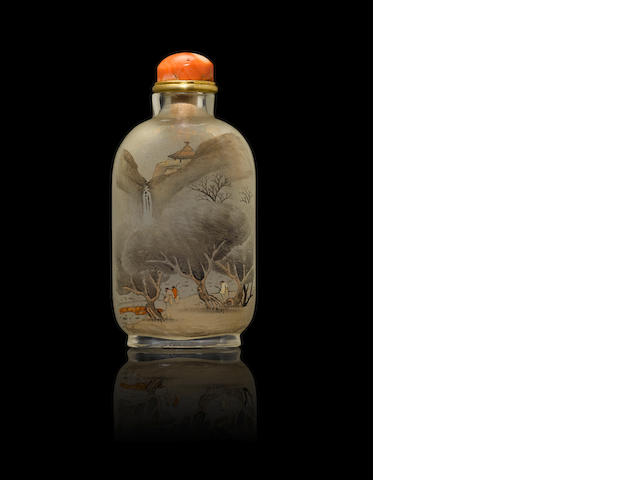 An inside-painted glass 'prunus, rock and landscape' snuff bottle Yan Yutian, dated 1895