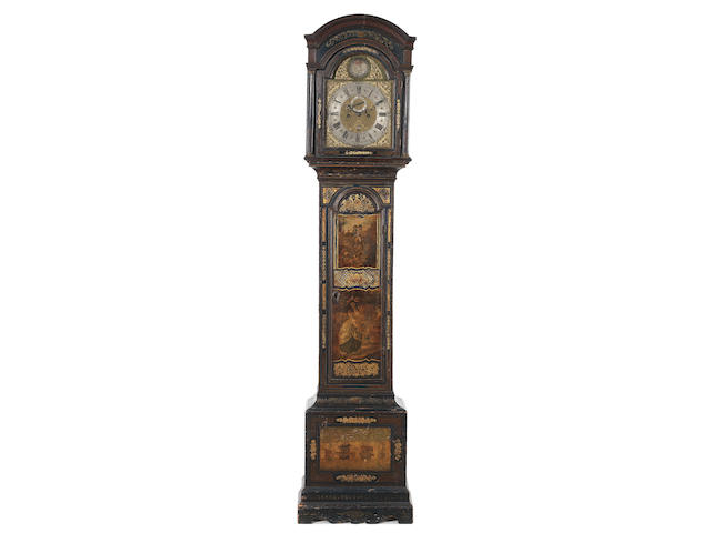 A mid 18th century black lacquered longcase clock The dial signed James Thorn, Colchester