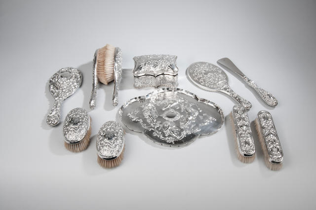 A late Victorian silver dressing table tray together with various dressing table items By William Gibson & John Langman London 1898