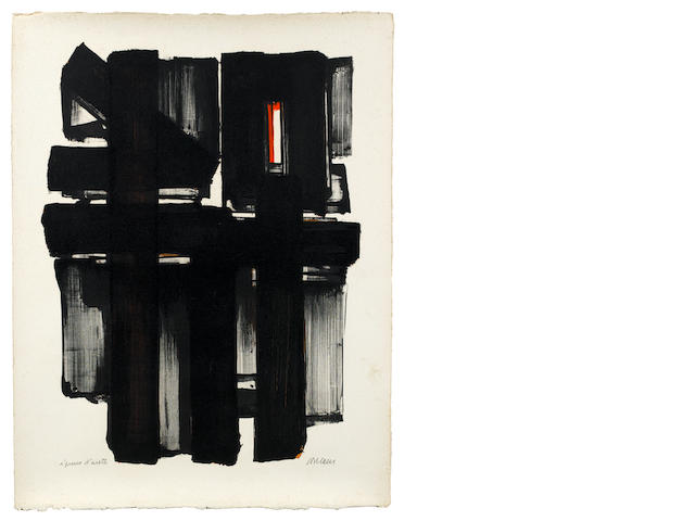 Pierre Soulages (French, born 1919) Lithographie No.2 Lithograph printed in colours, 1957, on wove, signed and inscribed 'Epreuve d'artiste' in pencil, a proof aside from the edition of 60, 665 x 503mm (26 1/8 x 19 3/4in)(SH) unframed