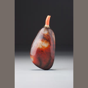 A nephrite pebble-material snuff bottle 1700-1880