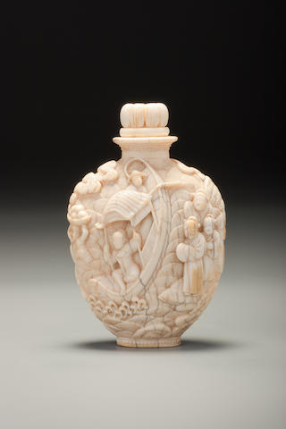 A carved ivory 'Legend of the White Snake' snuff bottle Imperial Master, Japan, 1854–1910