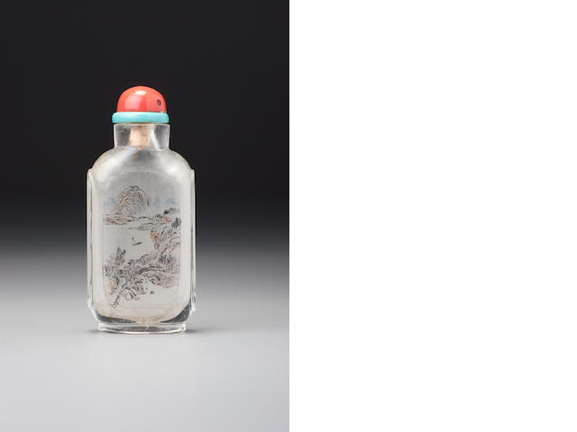 An inside-painted glass 'landscape' snuff bottle Meng Zishou, Beijing, dated 1904