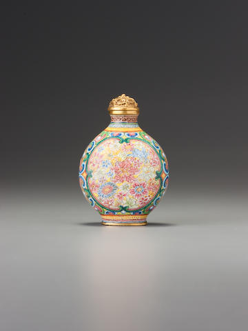 A 'famille-rose' enamelled copper and gold 'millefleurs' snuff bottle Imperial, palace workshops, Beijing, Qianlong blue-enamelled four-character mark and of the period, 1736-1775