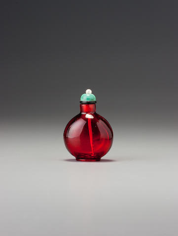 A ruby-red glass snuff bottle 1720-1780