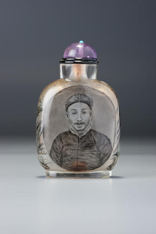 An inside-painted glass 'Zhang Zuolin' snuff bottle Meng Zishou, Beijing, dated 1914