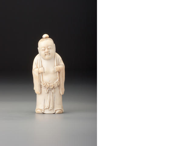 A carved ivory 'Liu Hai' snuff bottle 1850–1927