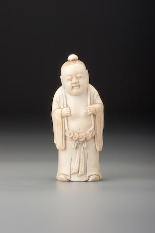 A carved ivory 'Liu Hai' snuff bottle 1850–1927