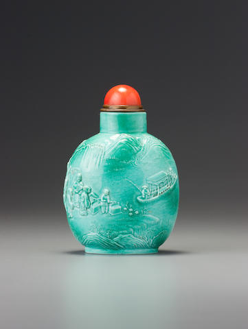 An inscribed bluish emerald-green porcelain 'crossing the river' snuff bottle  Xinquan (probably Chen Guozhi), Jingdezhen, Daoguang incised six-character seal mark and of the period, dated 1821