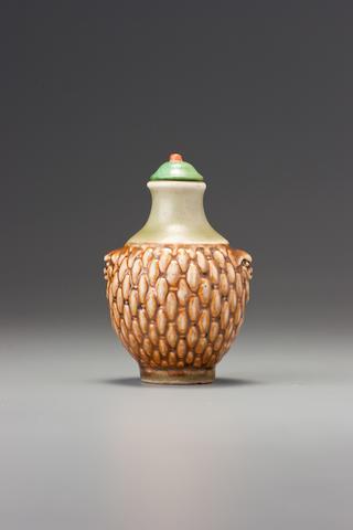 A moulded brown porcelain 'woven basket' snuff bottle Probably Imperial, Jingdezhen, 1760-1799