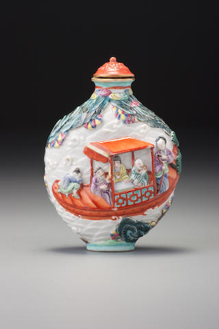 A moulded 'famille-rose' porcelain 'scholarly pastime' snuff bottle Imperial kilns, Jingdezhen, Jiaqing iron-red four-character seal mark and of the period, 1796-1820