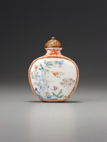 A 'famille-rose' porcelain 'Imperial poem' snuff bottle Imperial kilns, Jingdezhen, Jiaqing iron-red four-character seal mark and of the period, 1796-1810