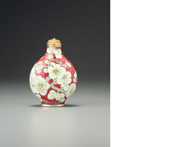 A 'famille-rose' enamelled copper and gold 'blossoming prunus' snuff bottle Imperial, palace workshops, Beijing, Kangxi blue-enamelled four-character mark and of the period, 1710-1722