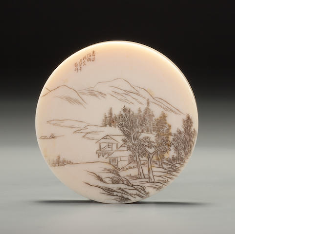 An inscribed and carved ivory 'Fishing Alone on a Spring Stream' snuff dish Yu Shuo, Tianjin, dated 1914