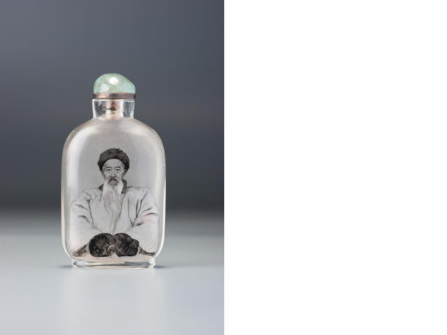 An inside-painted glass 'Zhang Zhidong' snuff bottle Ma Shaoxuan, Ox Street district, Beijing, dated 1909