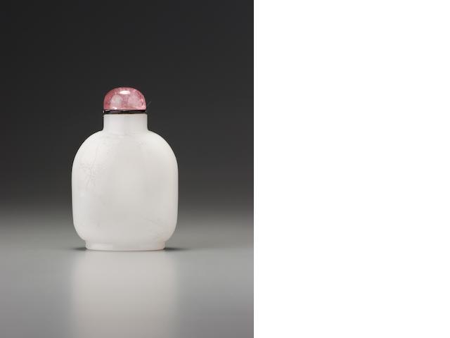 A carved white glass 'Lanting Preface' snuff bottle Zhou Honglai, Hangzhou, dated 1901 (the bottle: possibly Yuanhu, Zhejiang province, circa 1901)