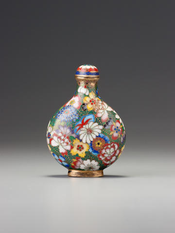 A cloisonné enamelled 'millefleurs' snuff bottle Probably Imperial, attributable to the palace workshops, Beijing, 1760-1799