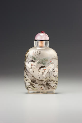 An inside-painted glass 'cranes' snuff bottle Ye family, the Apricot Grove Studio, Chongwen district, Beijing, dated 1930