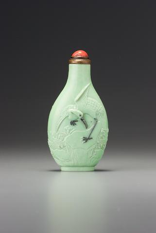 A lime-green porcelain 'crane' snuff bottle Zhang Mianyi, Jingdezhen, 1820-1870