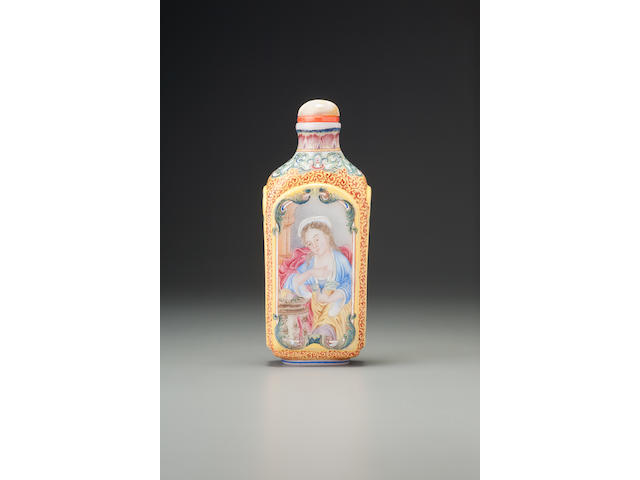 A 'famille-rose' enamelled glass 'European-subject' snuff bottle Imperial, palace workshops, Beijing, Qianlong blue-enamelled four-character mark and of the period, 1736-1760