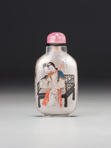 An inside-painted rock-crystal 'Qiao sisters' snuff bottle Ma Shaoxuan, Ox Street district, Beijing, dated 1901 (the bottle: 1750-1860)