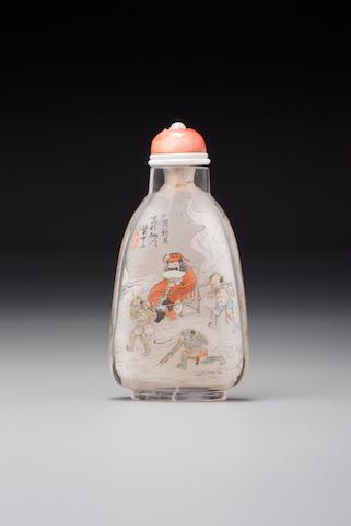 An inside-painted rock-crystal 'Zhong Kui' snuff bottle Ye Zhongsan, the Apricot Grove Studio, Chongwen district, Beijing, dated 1897